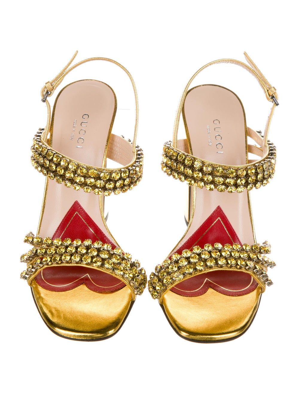 Gucci Leather Crystal Embellishments Sandals Gold - image 3