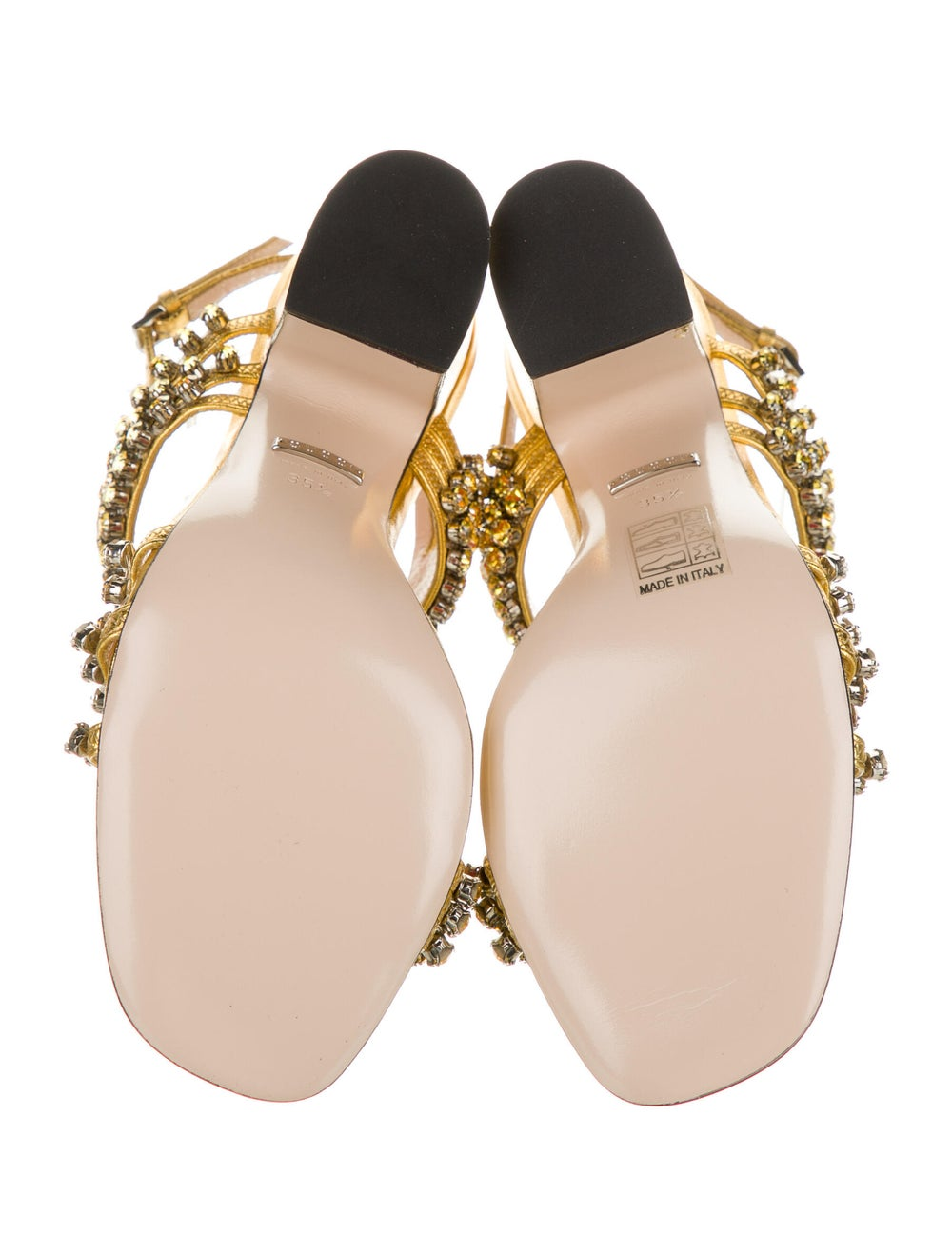 Gucci Leather Crystal Embellishments Sandals Gold - image 5