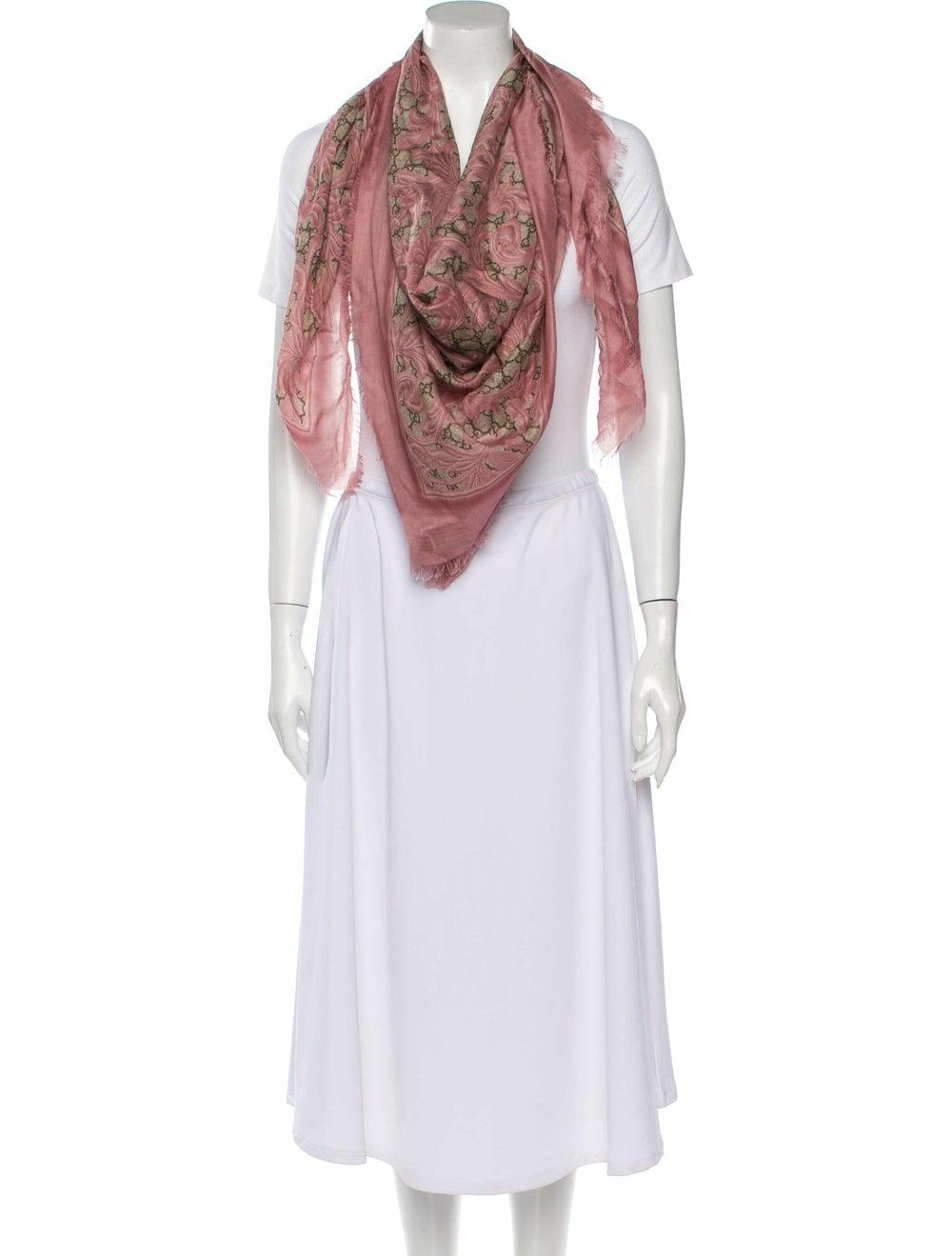 Gucci Big Arabesque Silk-Blend Scarf w/ Tags Pink - image 3