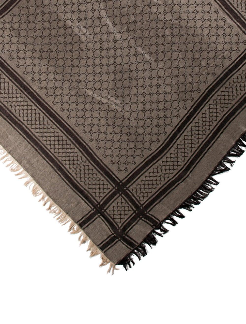Gucci GG Wool-Silk Scarf w/ Tags Tan - image 2