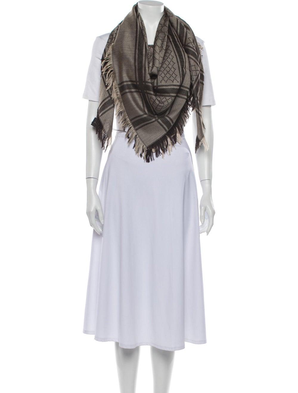 Gucci GG Wool-Silk Scarf w/ Tags Tan - image 3