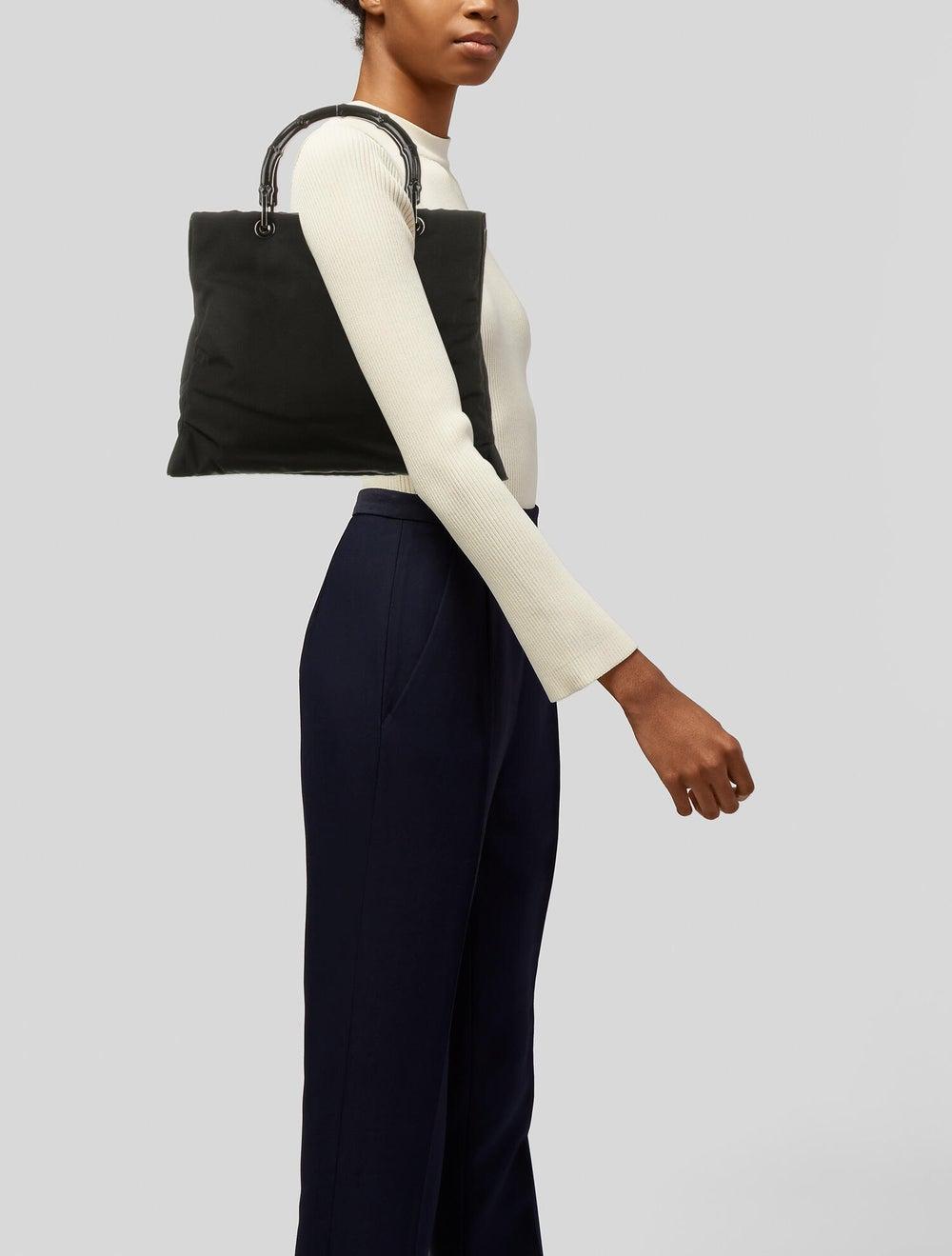 Gucci Nylon Bamboo Top Handle Bag Black - image 2