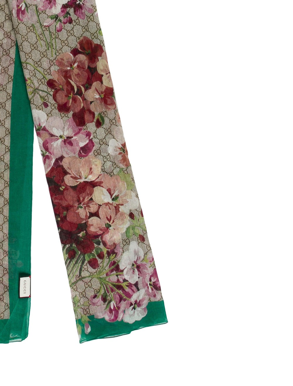 Gucci Floral Print GG Scarf w/ Tags Tan - image 2