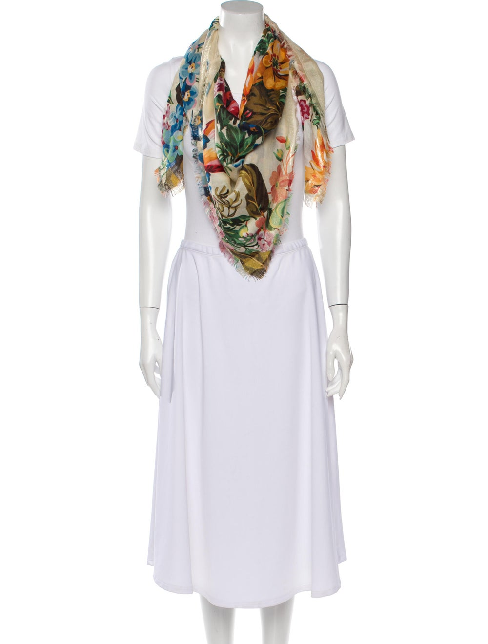 Gucci Wool Floral Scarf w/ Tags multicolor - image 3