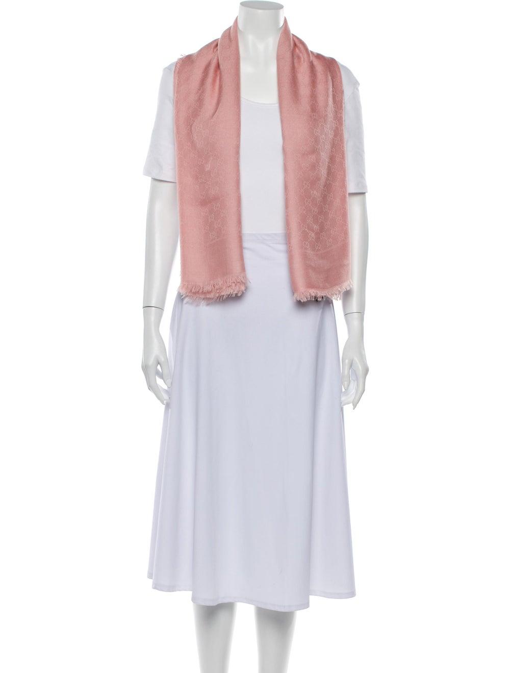 Gucci GG Wool-Silk Scarf w/ Tags Pink - image 3