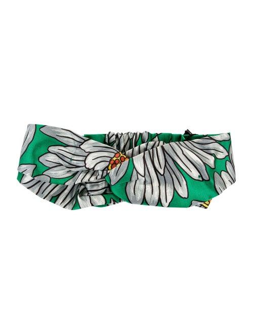 Gucci Silk Floral Headband Green - image 1