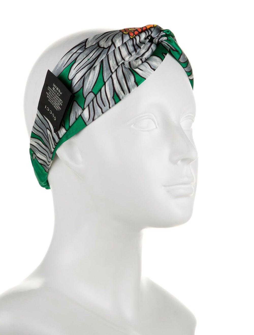 Gucci Silk Floral Headband Green - image 3