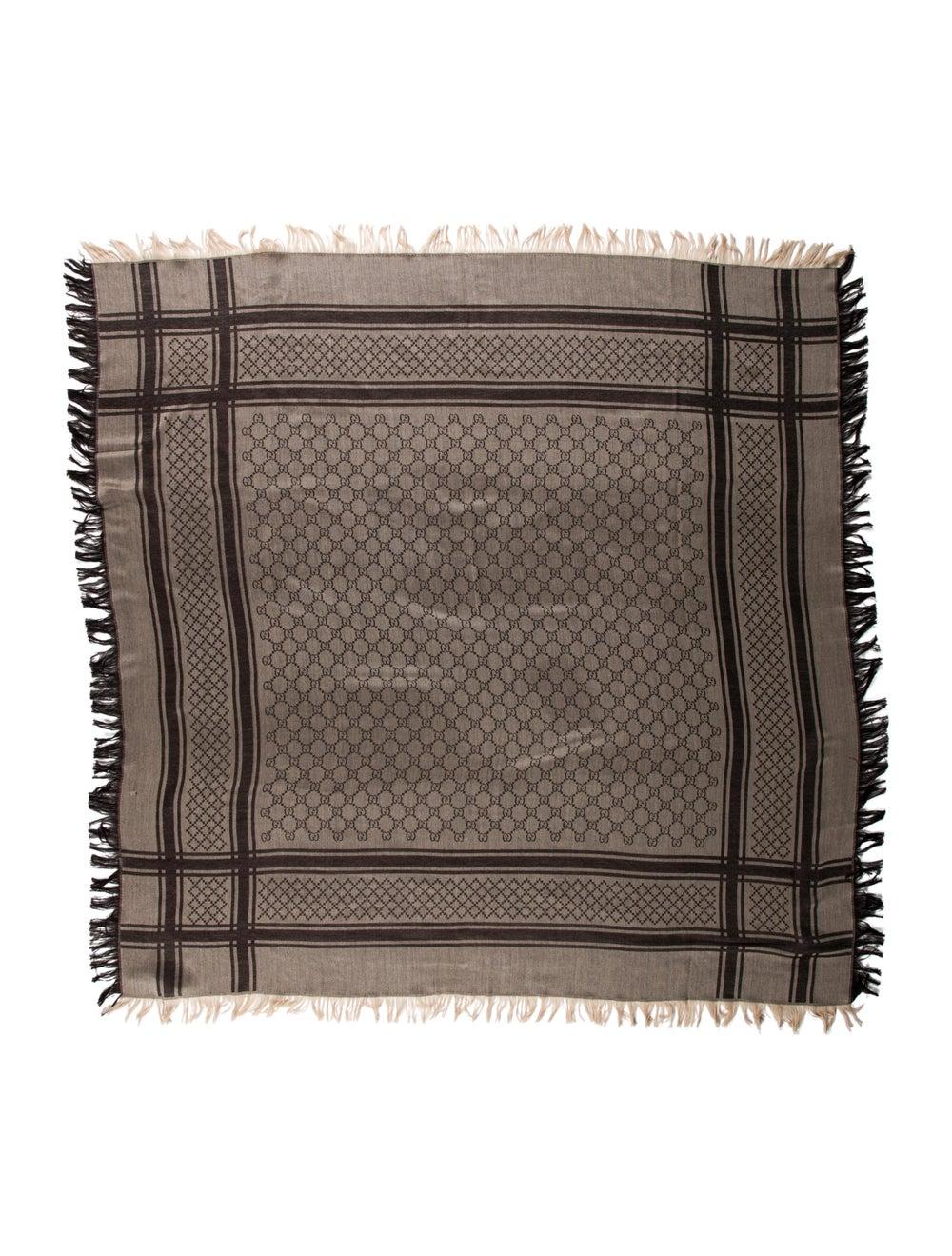 Gucci GG Wool-Silk Scarf w/ Tags Tan - image 1