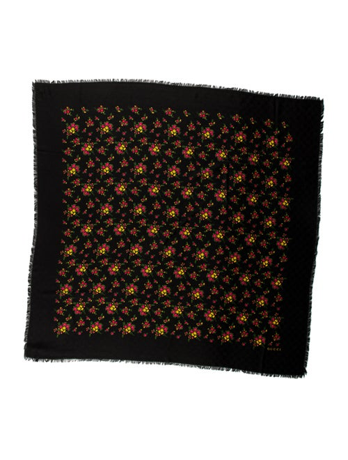 Gucci Floral Wool Scarf w/ Tags Black - image 1