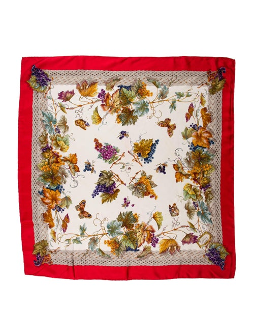 Gucci Silk Floral Print Scarf Red - image 1