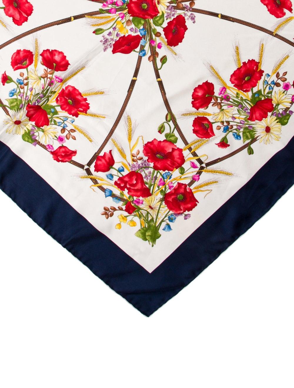 Gucci Silk Floral Print Scarf Blue - image 2