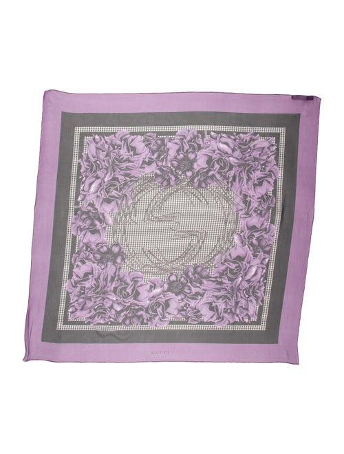 Gucci Silk Floral Print Scarf Purple - image 1