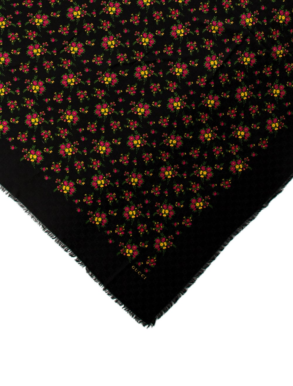 Gucci Floral Wool Scarf w/ Tags Black - image 2