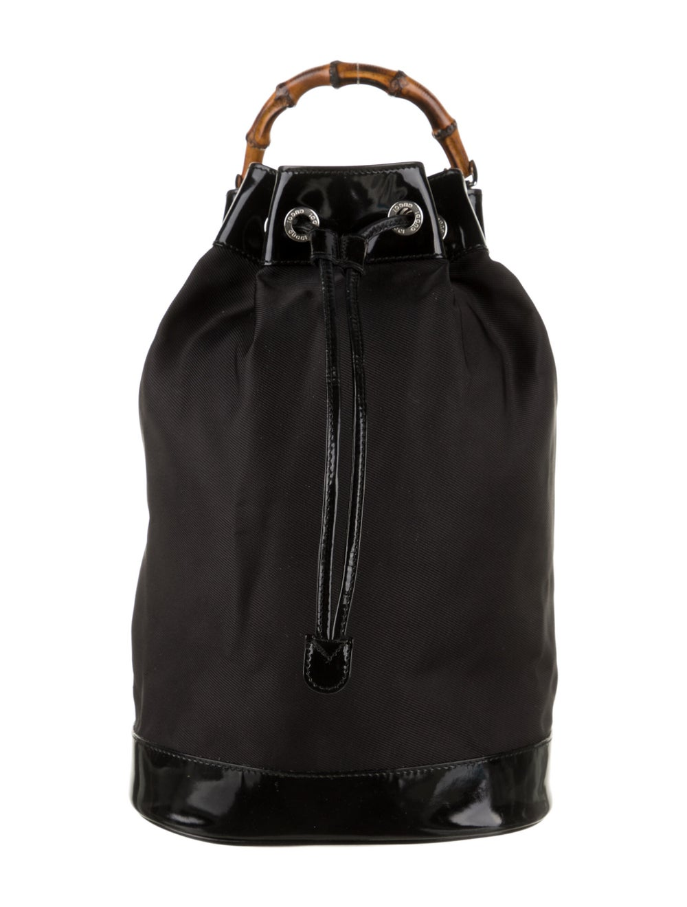 Gucci Vintage Bamboo Nylon Sling Bag Black - image 1