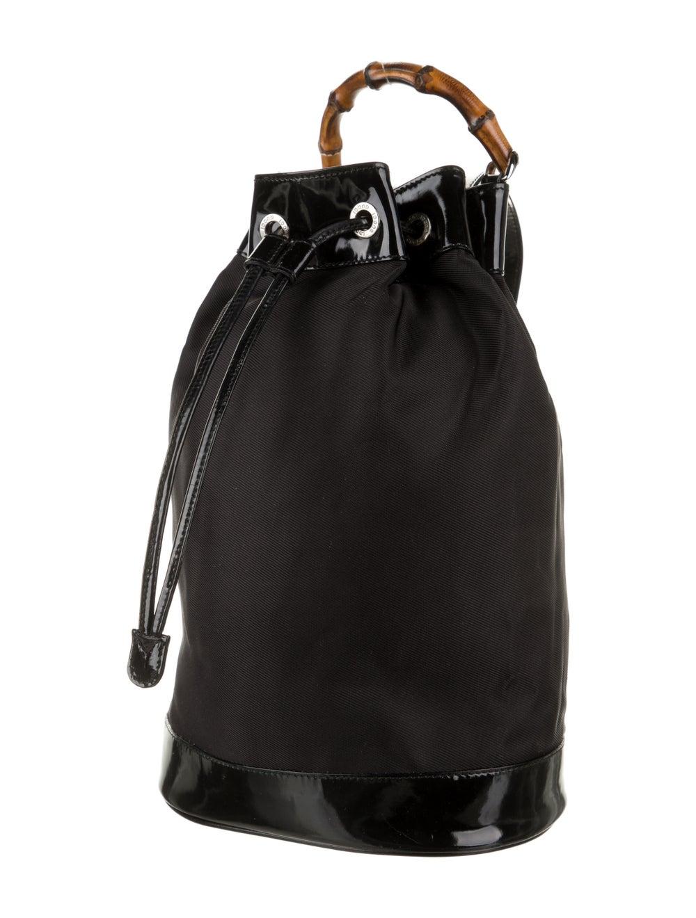 Gucci Vintage Bamboo Nylon Sling Bag Black - image 3