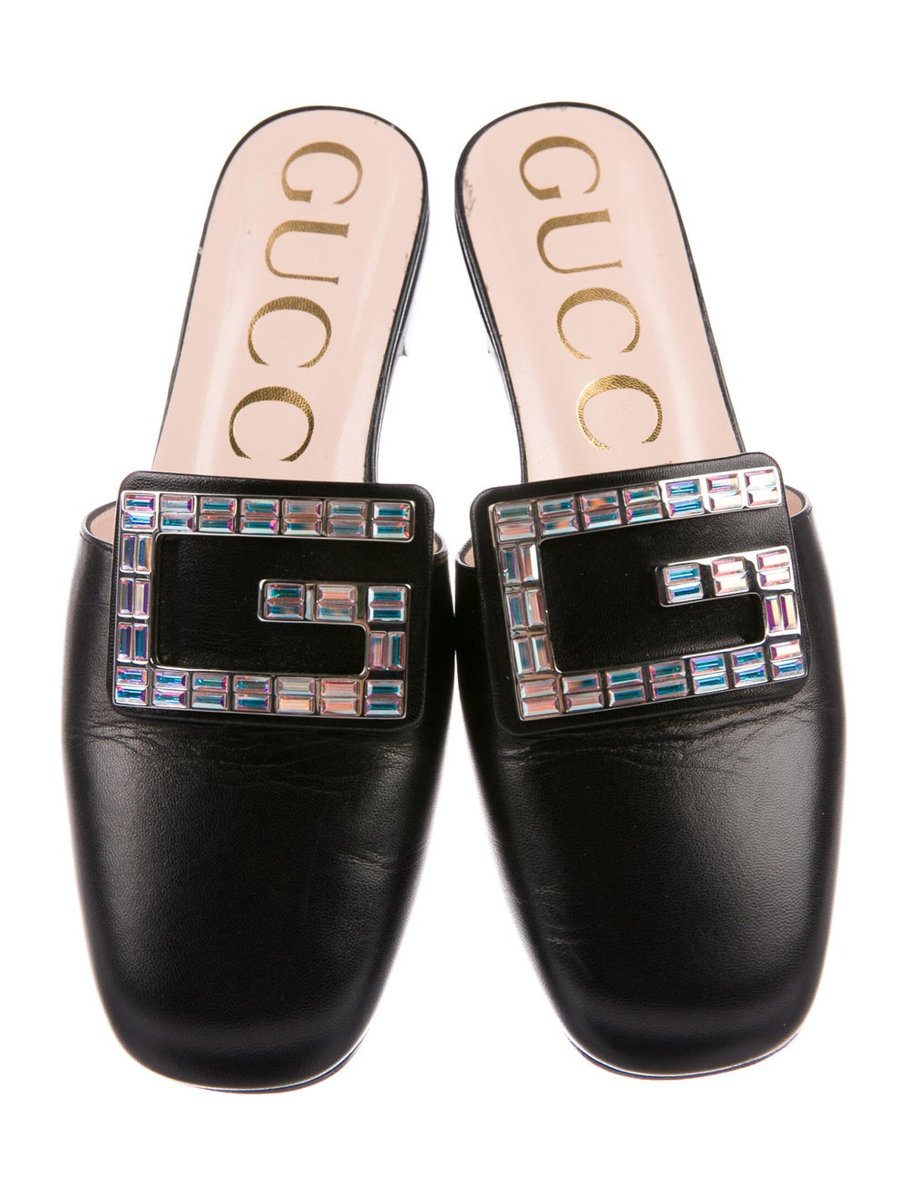 Gucci Leather Crystal Embellishments Mules Black - image 3
