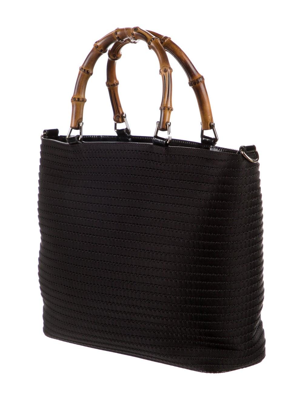 Gucci Vintage Nylon Bamboo Tote Black - image 3