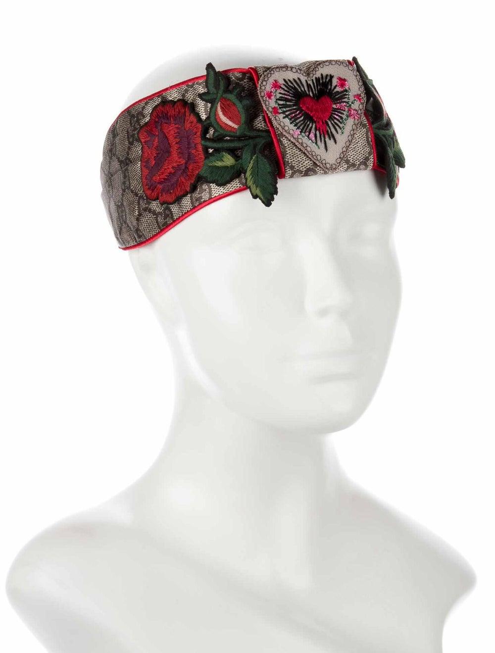 Gucci Silk Floral Headband w/ Tags Blue - image 3