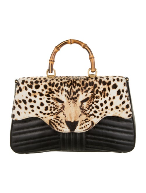 Gucci Bamboo Leopard Top Handle Bag Black - image 1