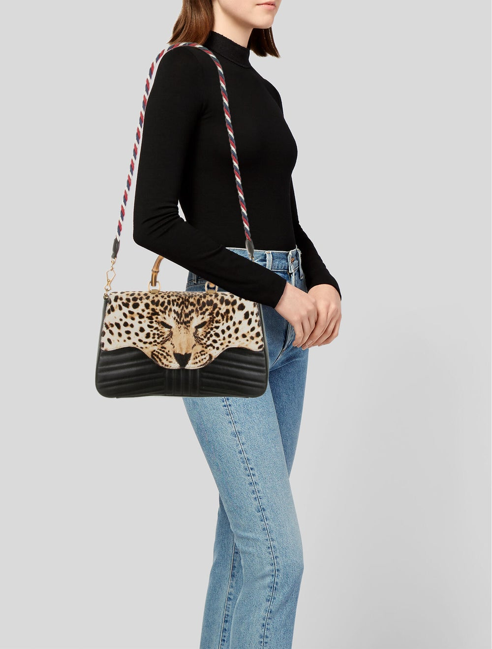 Gucci Bamboo Leopard Top Handle Bag Black - image 2