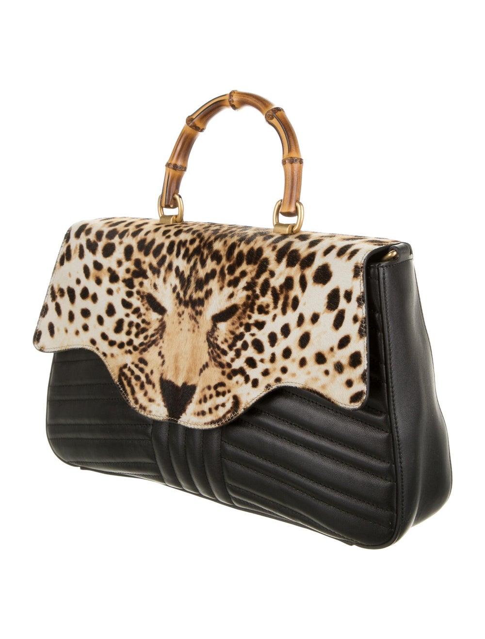 Gucci Bamboo Leopard Top Handle Bag Black - image 3