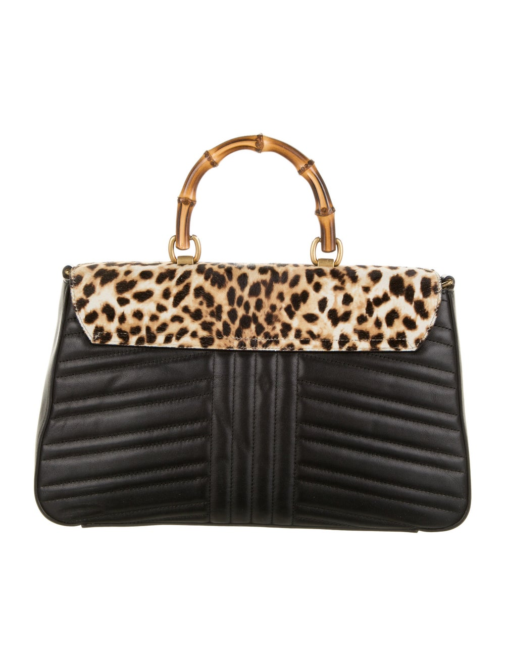Gucci Bamboo Leopard Top Handle Bag Black - image 4
