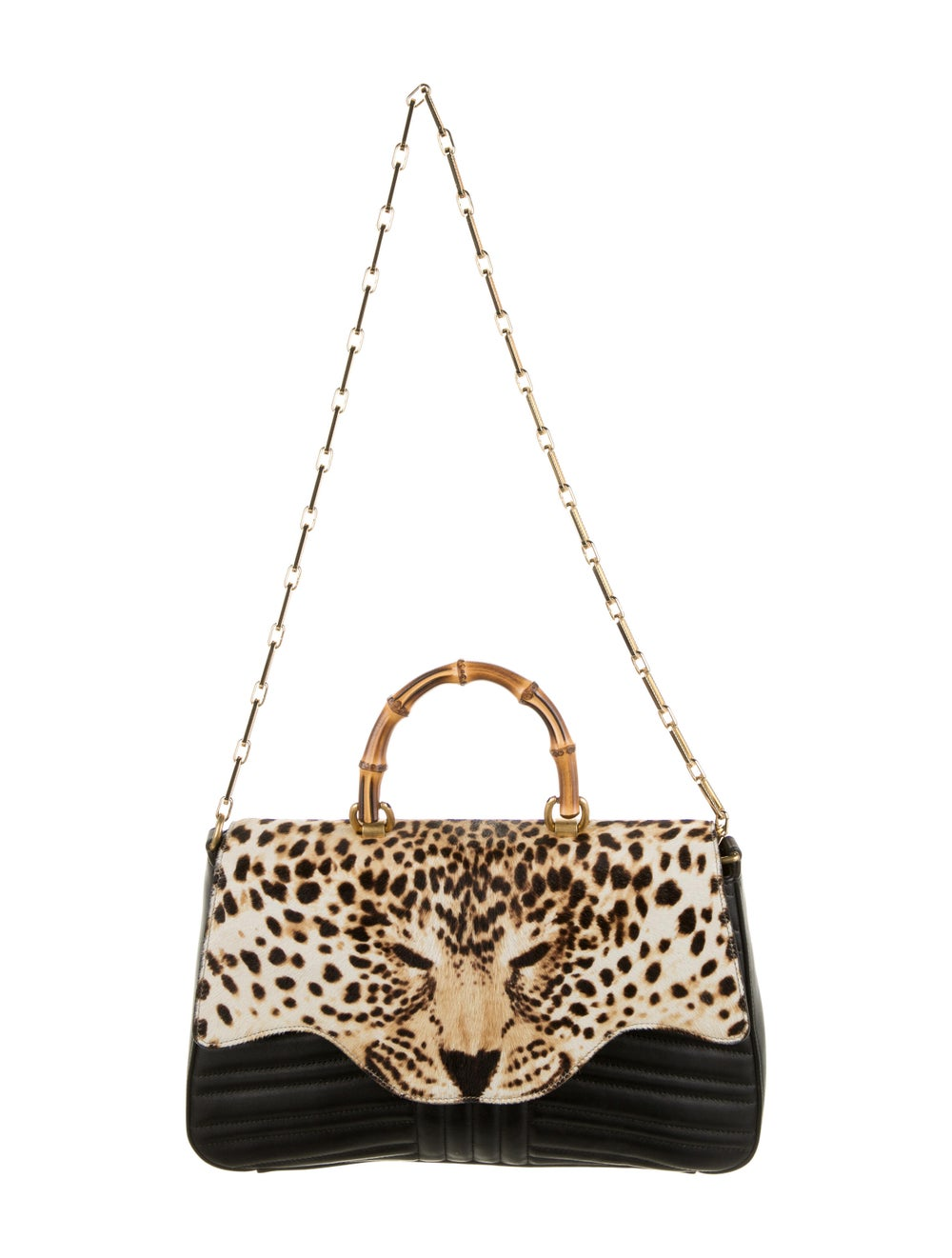 Gucci Bamboo Leopard Top Handle Bag Black - image 5