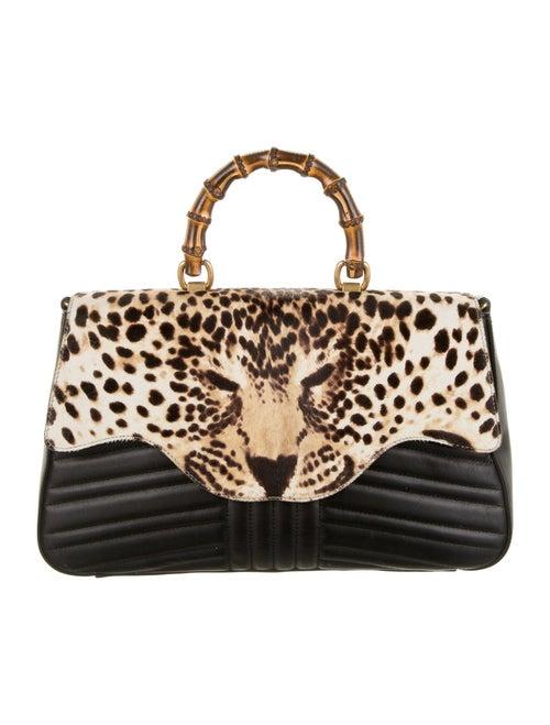 Gucci Bamboo Leopard Top Handle Bag Black