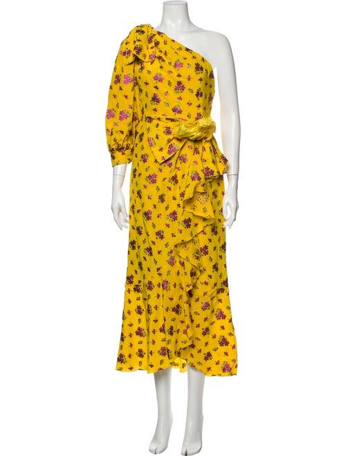 Gucci Floral Print Mini Dress Yellow