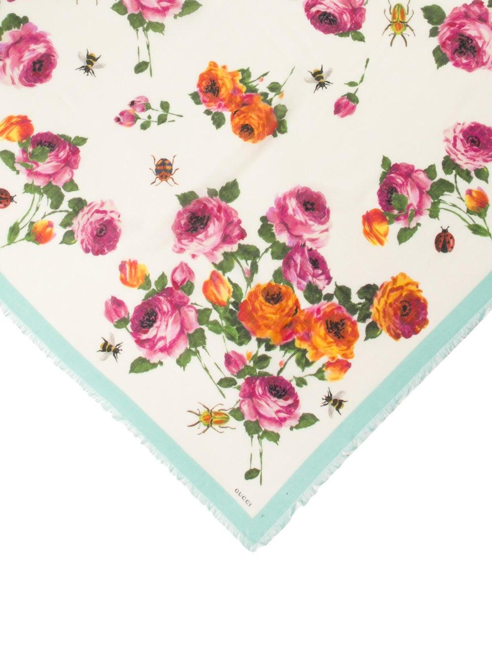 Gucci Silk Floral Print Scarf w/ Tags Blue - image 2