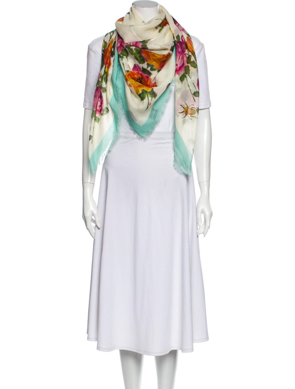 Gucci Silk Floral Print Scarf w/ Tags Blue - image 3