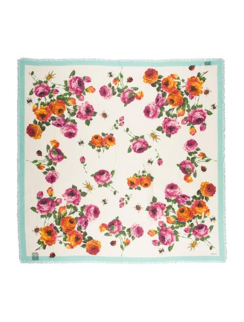 Gucci Silk Floral Print Scarf w/ Tags Blue - image 1