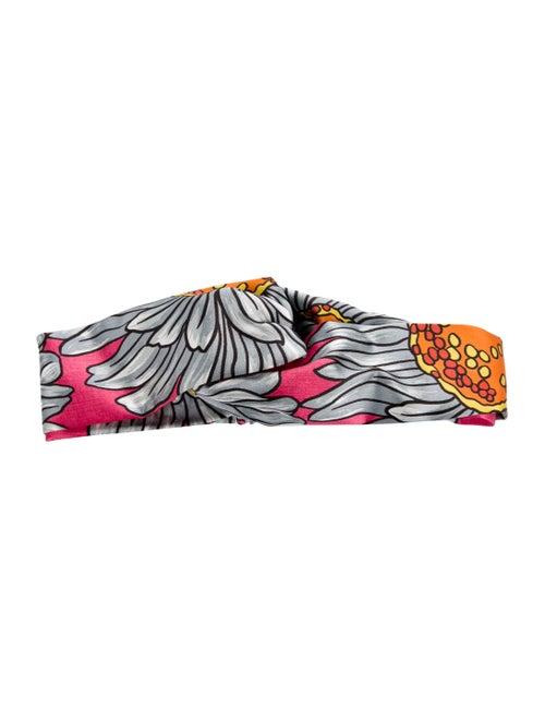Gucci Floral Silk Headband Pink - image 1