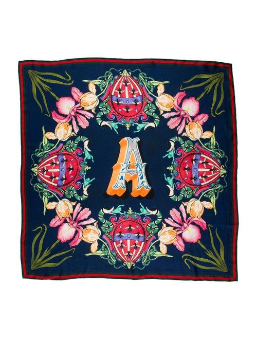 Gucci Floral Silk Scarf w/ Tags Blue - image 1