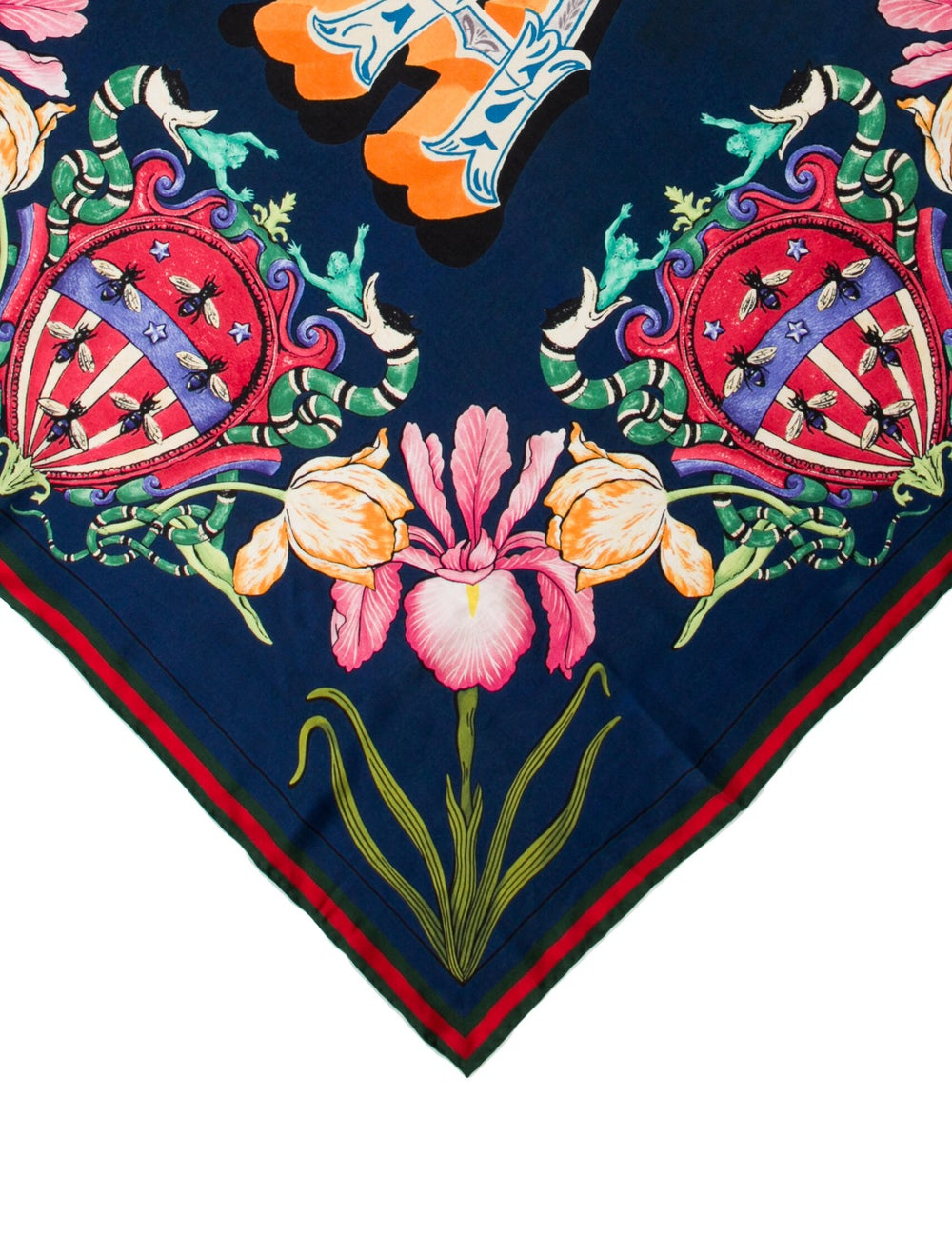 Gucci Floral Silk Scarf w/ Tags Blue - image 2