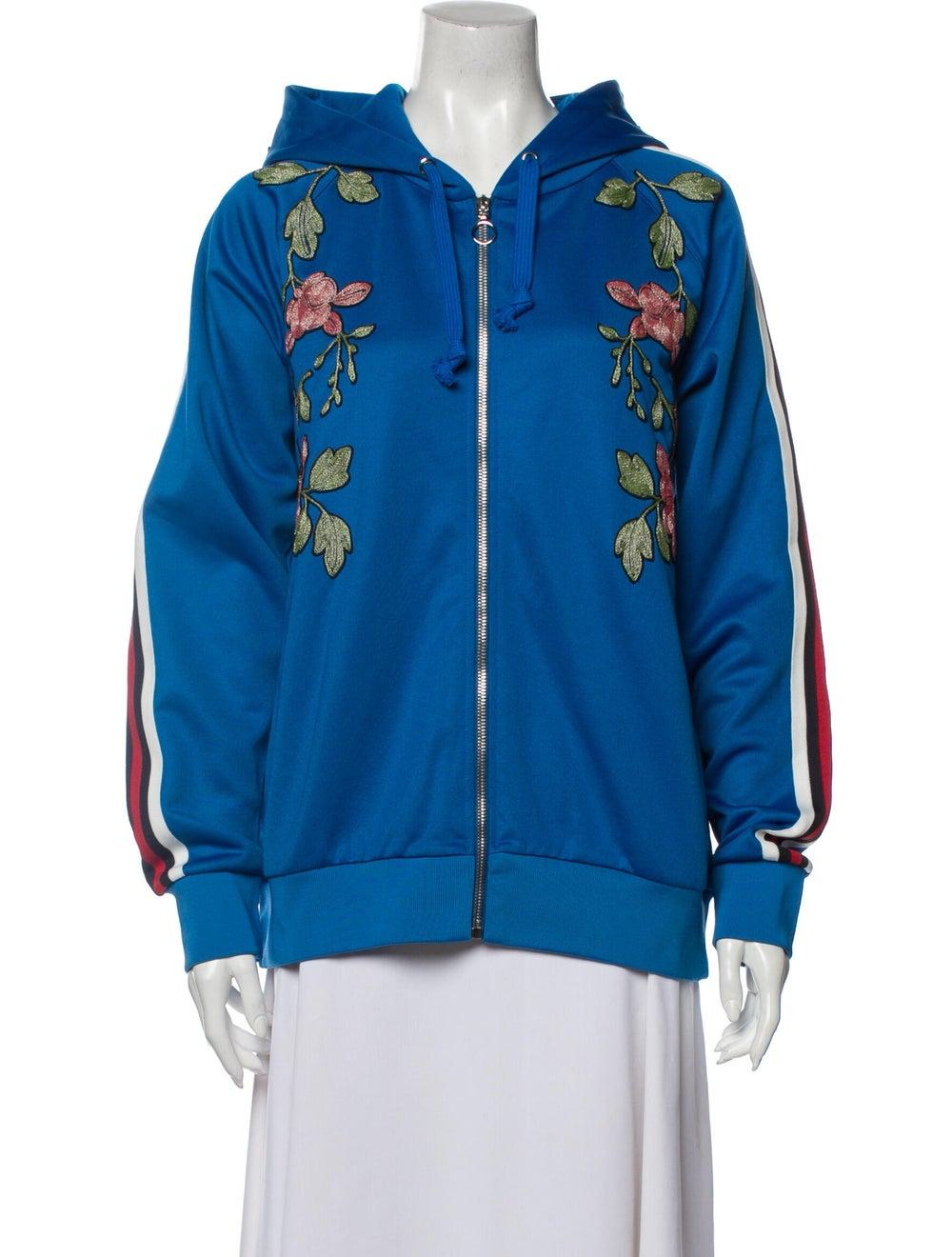 Gucci 2017 Floral Print Sweatshirt Sweatshirt Blue - image 1