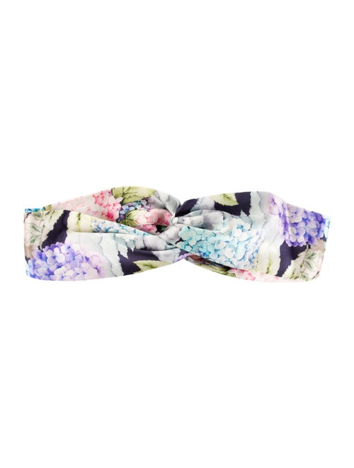 Gucci Silk Floral Headband Blue