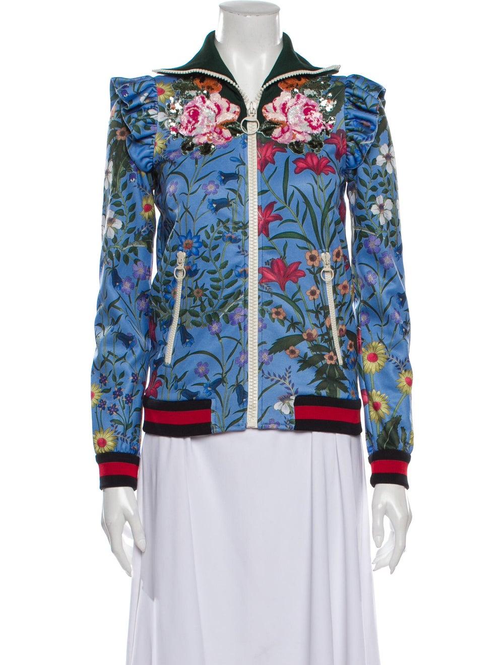 Gucci Floral Print Bomber Jacket Blue - image 1