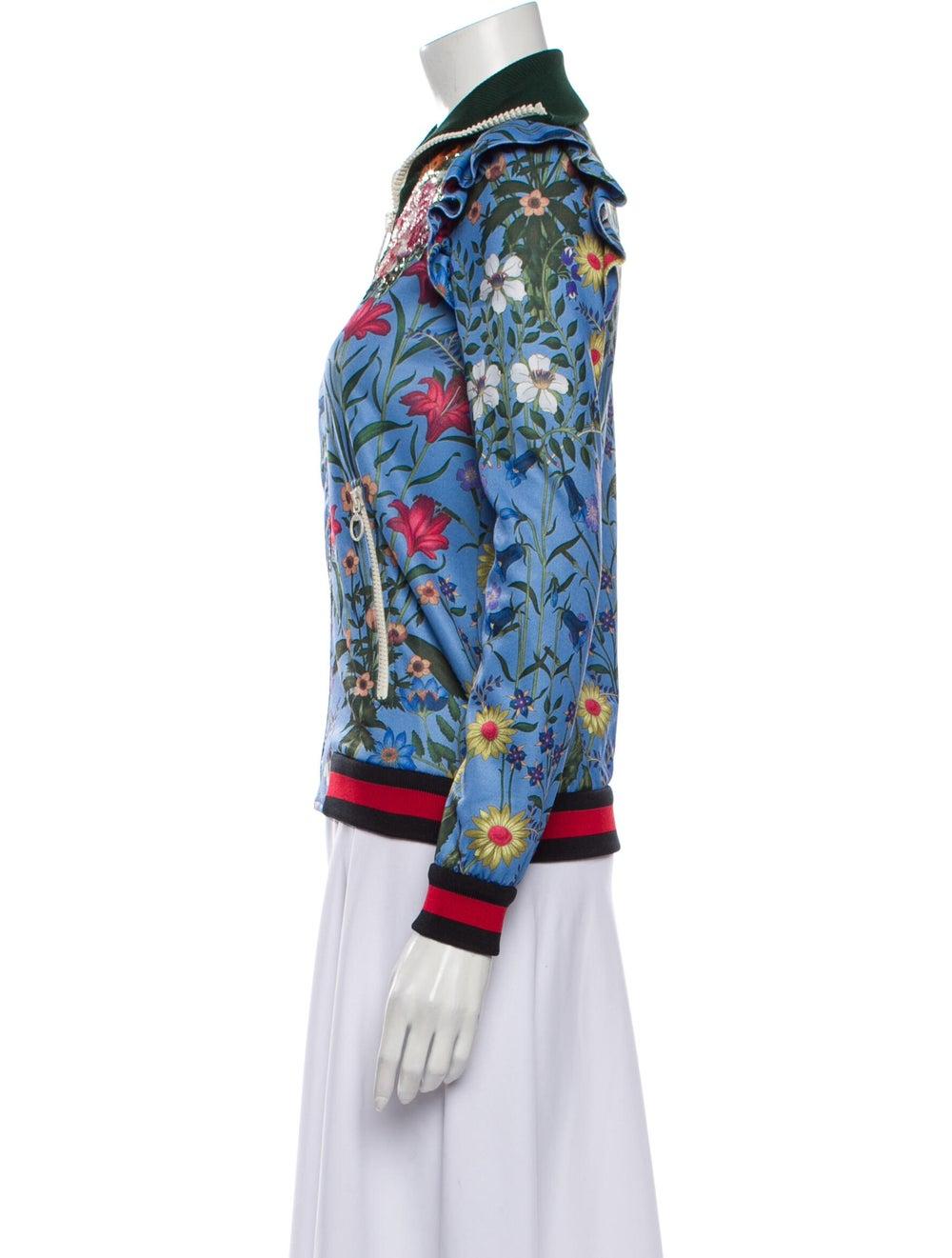 Gucci Floral Print Bomber Jacket Blue - image 2