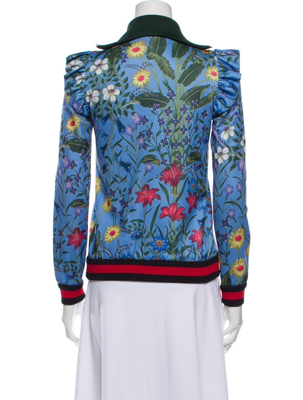 Gucci Floral Print Bomber Jacket Blue - image 3