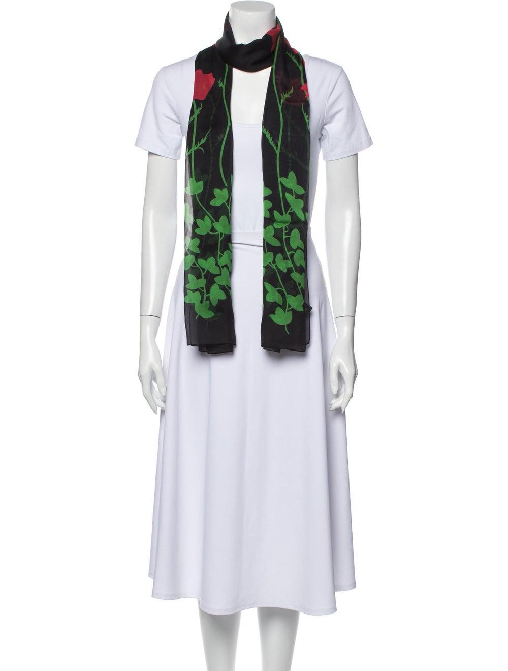 Gucci Silk Floral Print Scarf Black - image 3