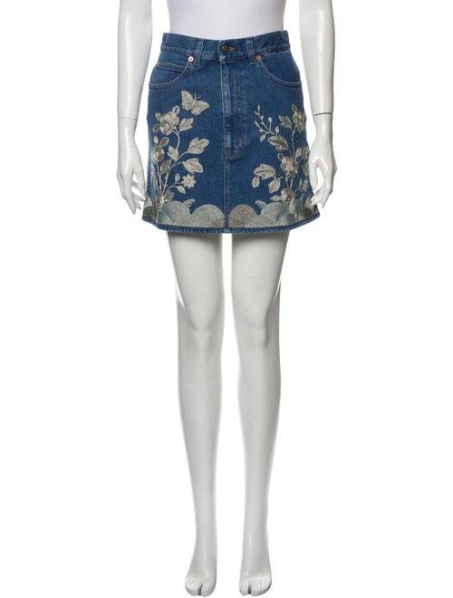Gucci Floral Print Mini Skirt w/ Tags Blue - image 1