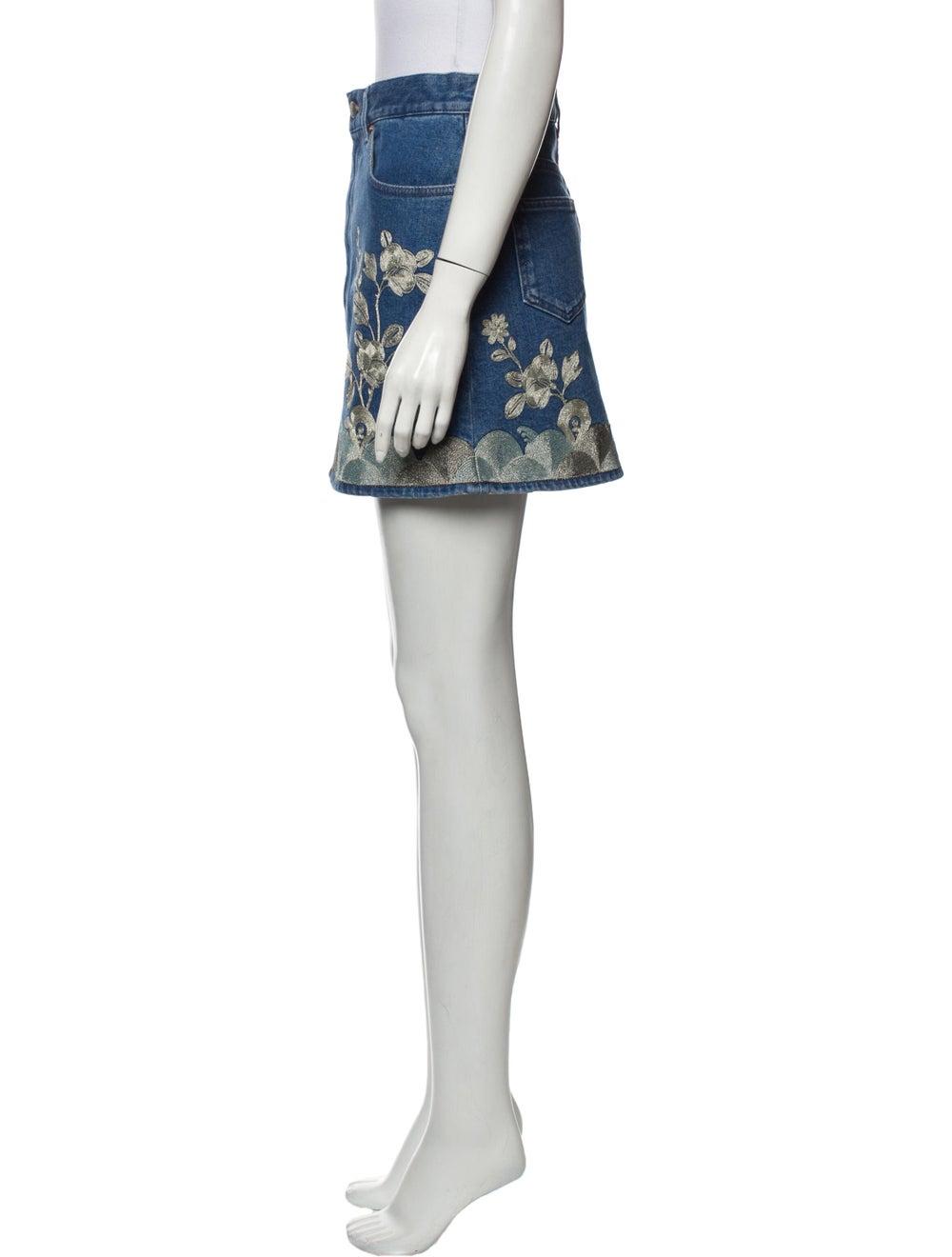 Gucci Floral Print Mini Skirt w/ Tags Blue - image 2