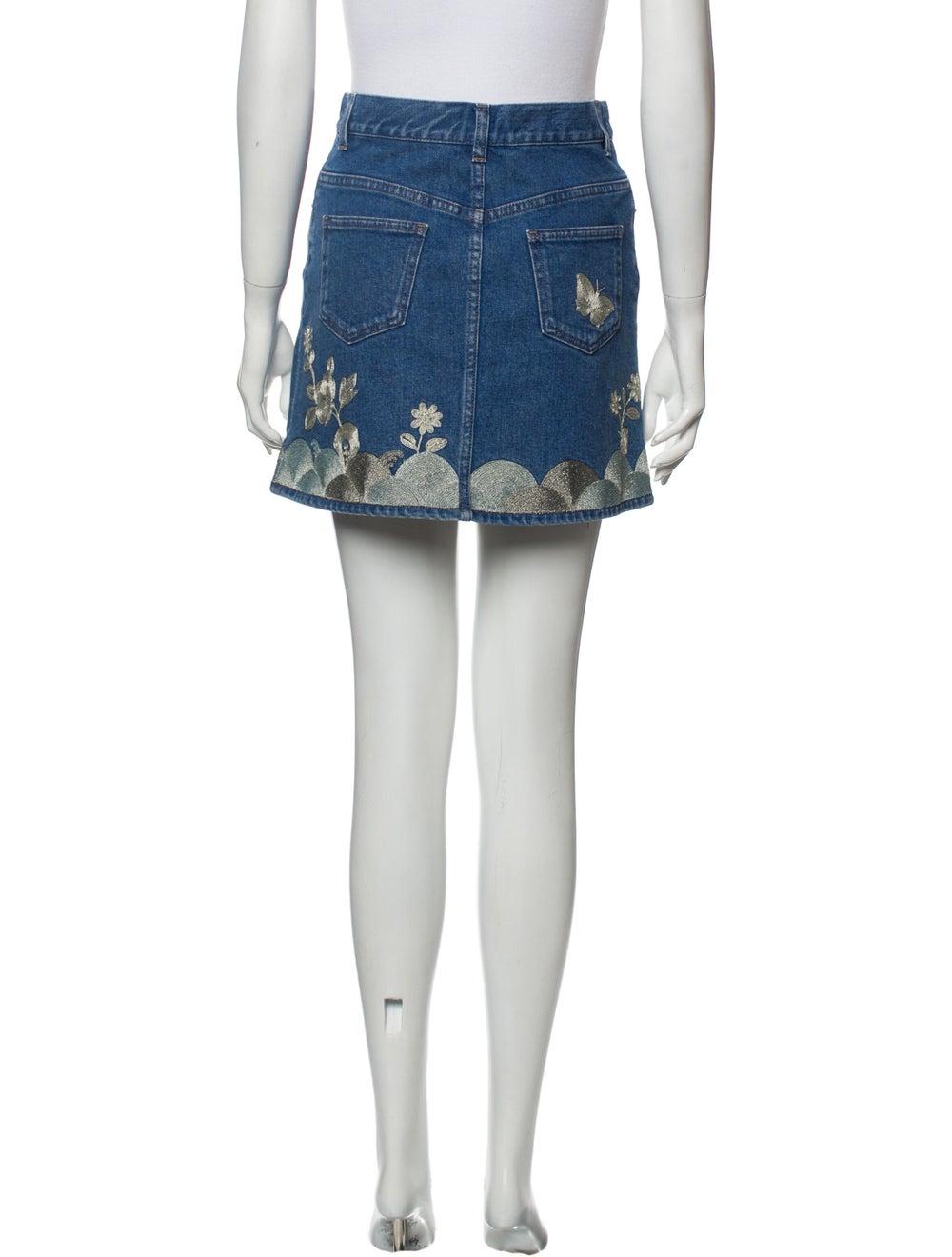 Gucci Floral Print Mini Skirt w/ Tags Blue - image 3