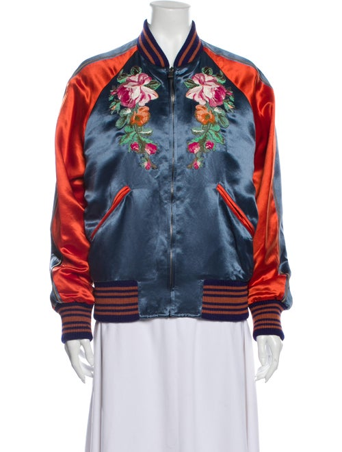 Gucci Floral Print Bomber Jacket w/ Tags Blue