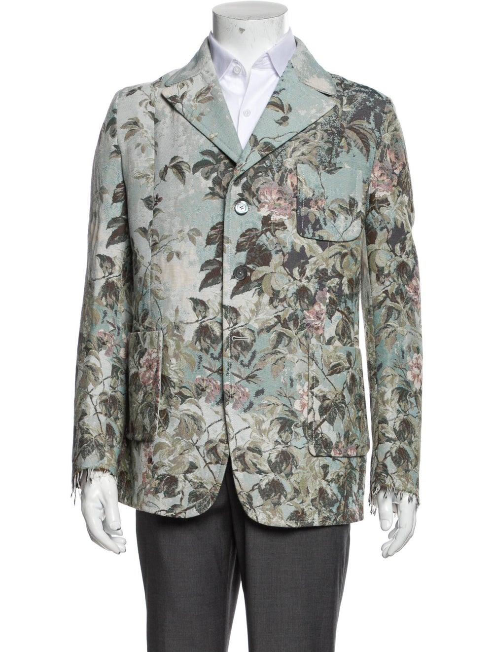 Gucci Floral Print Blazer w/ Tags Blue - image 1