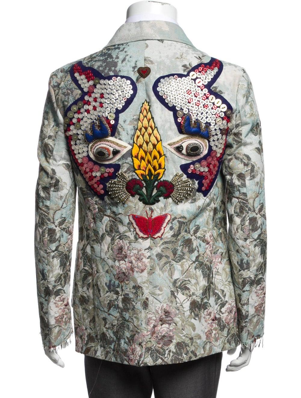 Gucci Floral Print Blazer w/ Tags Blue - image 3