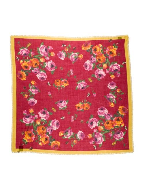Gucci Wool Floral Print Scarf w/ Tags Wool - image 1