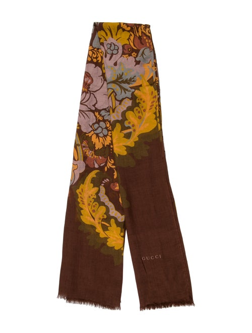 Gucci Floral Print Scarf w/ Tags Brown - image 1