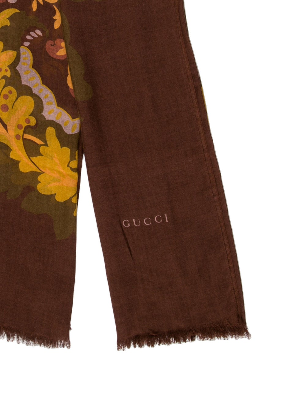 Gucci Floral Print Scarf w/ Tags Brown - image 2